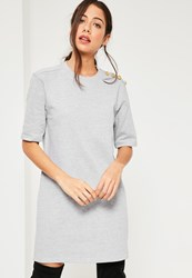 Missguided Grey Military Button Shift Dress