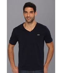 Lacoste L Ve Short Sleeve V Neck T Shirt Navy Blue Men's T Shirt