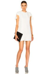 Brandon Maxwell Suiting Cap Sleeve Mini Dress In White