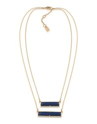 Lauren Ralph Lauren Match Point 12K Gold Plated Blue Two Row Rectangle Pendant Necklace