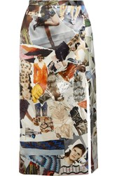 Christopher Kane Printed Duchesse Satin Midi Skirt Off White