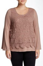 Soieblu Crochet Overlay Blouse Plus Size Brown