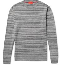 Isaia Melange Cashmere Silk And Linen Blend Sweater Gray