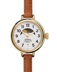 Shinola 34Mm Birdy Moon Phase Watch With Leather Strap Brown White