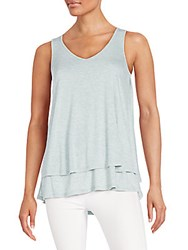 Saks Fifth Avenue Black Layered Jersey Tank Riverstone