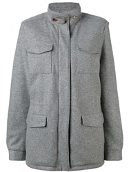 Loro Piana Multi Pockets Short Coat Women Goat Skin Cashmere M Grey