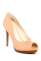 Nine West First Base Peep Toe Leather Pump Wide Width Available Beige