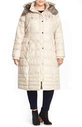 Plus Size Women's Laundry By Design Long Quilted Coat With Faux Fur Lined Hood Pearl