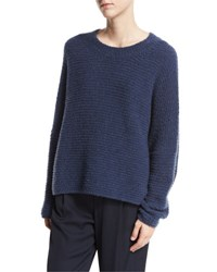 Vince Oversized Textured Crewneck Pullover White