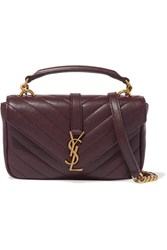 Saint Laurent College Quilted Leather Shoulder Bag Burgundy