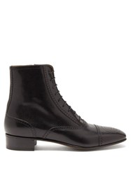 Gucci Dracma Gg Perforation Lace Up Leather Boots Black