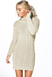Boohoo Cable Knit Jumper Dress Stone