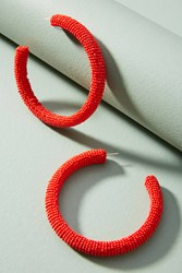 Suzanna Dai Beaded Hoop Earrings Red