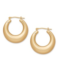 Signature Gold Diamond Accent Graduated Round Hoop Earrings In 14K Gold