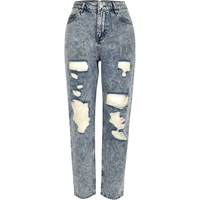River Island Womens Light Blue Acid Wash Mom Jeans