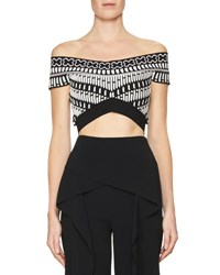Roland Mouret Reynolds Geometric Knit Crop Top Black