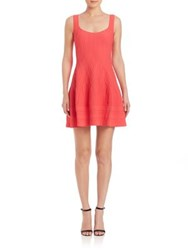 Dsquared Textured Knit Fit And Flare Dress Coral