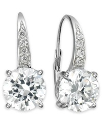 B. Brilliant Sterling Silver Earrings Cubic Zirconia Leverback Earrings 4 Ct. T.W.