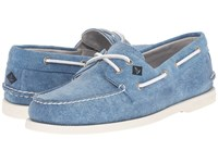 Sperry A O 2 Eye White Cap Canvas Turquoise Men's Lace Up Casual Shoes Blue