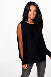 Boohoo Oversized Split Long Sleeve T Shirt Black