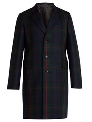 Paul Smith Single Breasted Check Wool And Cashmere Coat Green Multi
