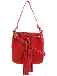 Moschino Stitched Bucket Tote Red