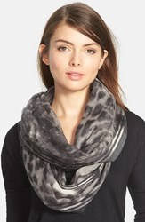 Women's Nordstrom 'Blurred Cheetah' Wool Infinity Scarf Grey Grey Combo