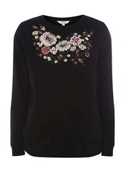 Dorothy Perkins Maternity Black Floral Embroidered Sweatshirt