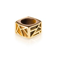 Ona Chan Square Cocktail Ring Tigers Eye Gold