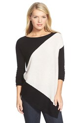 Petite Women's Halogen Asymmetrical Wool And Cashmere Sweater Black Ivory Colorblock