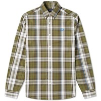 Fred Perry Authentic Twill Check Shirt Green