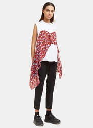 Msgm Floral Crepe Trimmed Tank Top White