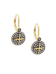 Freida Rothman Classic Cz And 14K Yellow Gold Plated Sterling Silver Drop Earrings