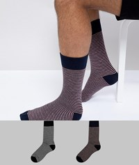 Selected Homme Socks In 2 Pack With Stripe Multi