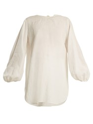 The Row Latou Open Back Linen Top Ivory