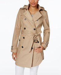 Michael Kors Hooded Double Breasted Belted Raincoat Khaki
