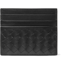 Bottega Veneta Intrecciato Woven Leather Cardholder Black