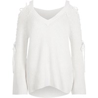 River Island Womens White Ribbed Knit Tie Sleeve V Neck Jumper