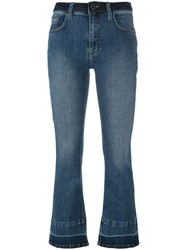 Victoria Beckham Cropped Flare Jeans Blue