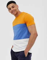 Selected Homme Colour Block Organic T Shirt In Blue