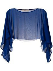 D.Exterior Sheer Cropped Blouse Blue