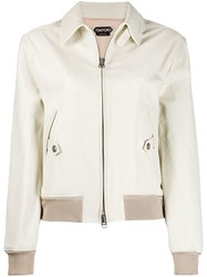 Tom Ford Leather Bomber Jacket Neutrals
