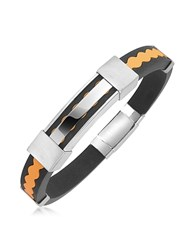 Forzieri Rubber And Stainless Steel Bracelet Orange