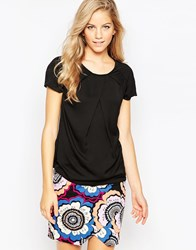 Closet Short Sleeve Top With Pleat Front Black