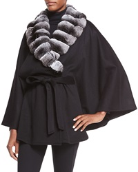 Sofia Cashmere Cashmere Cape W Fur Collar Natural