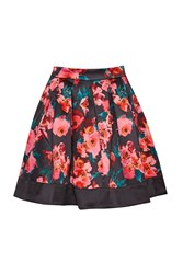 French Connection Allegro Poppy Satin Flared Skirt Black