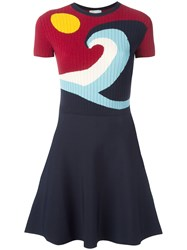 Red Valentino Flared Knit Dress Blue
