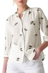Whistles Gauzy Floral Button Front Shirt Ivory