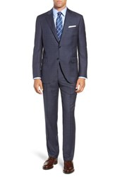 Peter Millar Big And Tall Flynn Classic Fit Plaid Wool Suit Blue