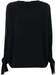 Gianluca Capannolo Satin Tie Cuff Blouse Black
